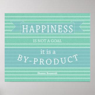 Cita Eleanor Roosevelt de la felicidad inspirada Póster