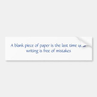 Cita en blanco del trozo de papel pegatina para auto