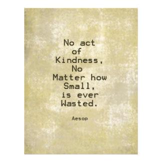 Cita Esopo de la compasión de la amabilidad Membrete Personalizado