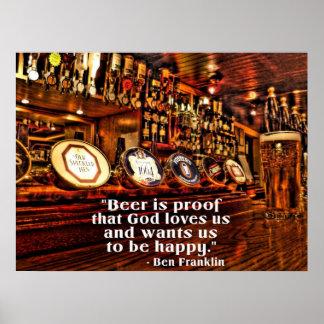 Cita famosa de la cerveza de Ben Franklin Póster