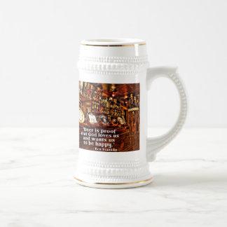 Cita famosa de la cerveza de Ben Franklin Jarra De Cerveza