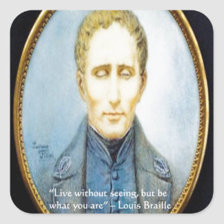 Cita famosa de Louis Braille Pegatina Cuadrada