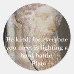 Cita famosa de Platón Etiquetas Redondas