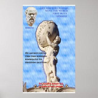Cita famosa de Sócrates - mueva el mundo Póster