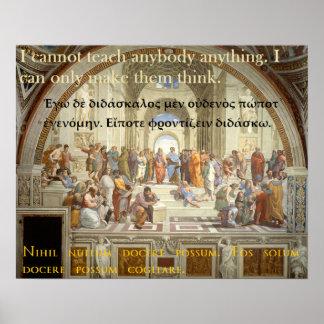 Cita famosa de Sócrates - no puedo enseñar a Póster
