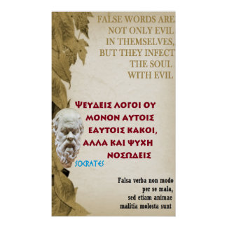 Cita famosa de Sócrates - palabras falsas Póster