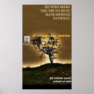 Cita famosa de Sócrates - verdad la paciencia de Póster