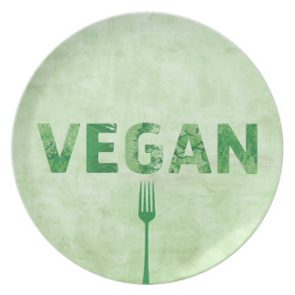 Cita feliz del arte del texto del vegano - platos para fiestas