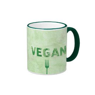 Cita feliz del arte del texto del vegano - taza de dos colores