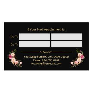 Cita floral del oro del salón de belleza del tarjetas de visita