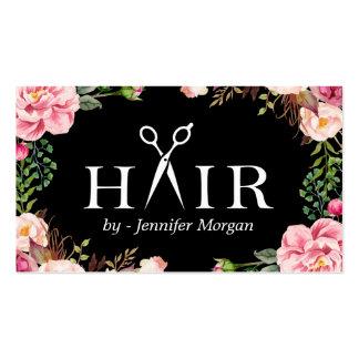 Cita floral del salón de belleza del logotipo del tarjetas de visita