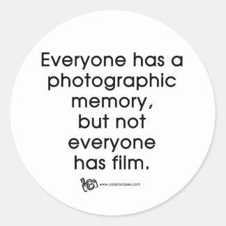 Cita fotográfica de la memoria pegatina redonda