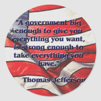 Cita grande del gobierno de Jefferson Pegatina Redonda