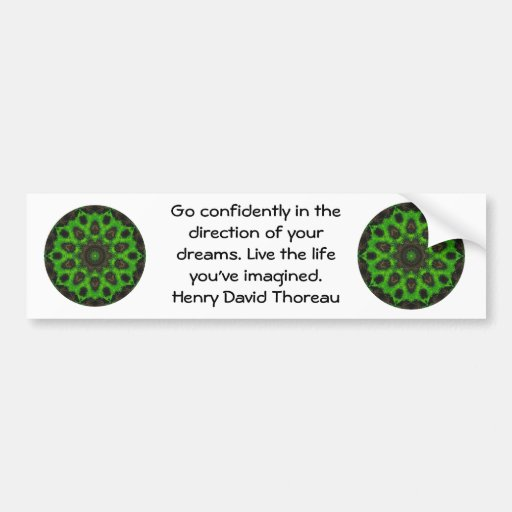 Cita ideal de motivación de Henry David Thoreau Etiqueta De Parachoque