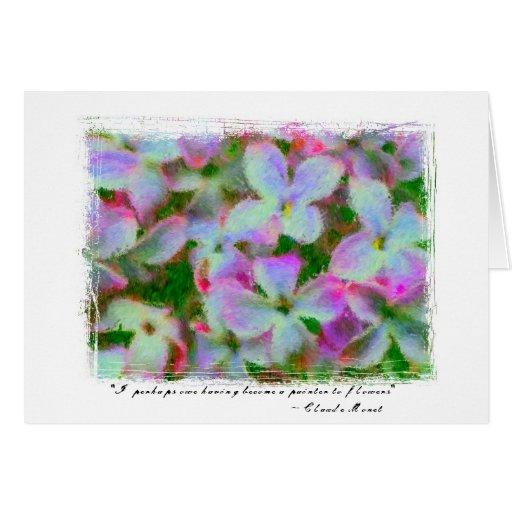 Cita impresionista de las lilas tarjeta de felicitación