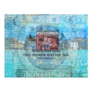 Cita ingeniosa de Shakespeare de Romeo y de Juliet Tarjetas Postales