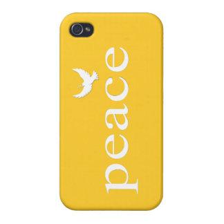 Cita inspirada amarilla de la paz iPhone 4/4S funda