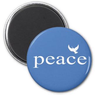 Cita inspirada azul de la paz imán redondo 5 cm