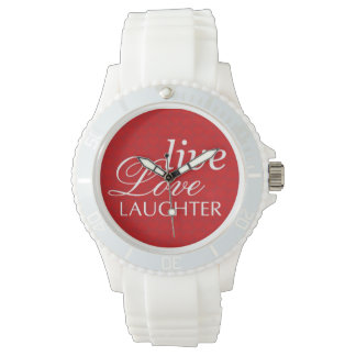 Cita inspirada blanca roja de la risa viva del relojes de mano
