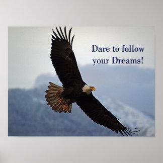 Cita inspirada calva altísima de Eagle Póster