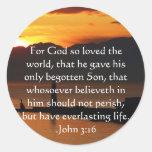 Cita inspirada cristiana del 3:16 de Juan Etiquetas Redondas