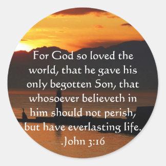 Cita inspirada cristiana del 3:16 de Juan Pegatina Redonda