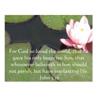 Cita inspirada cristiana del 3:16 de Juan Postales