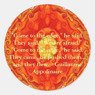 Cita inspirada de Guillaume Appolinaire Pegatina Redonda