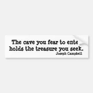 Cita inspirada de Joseph Campbell de la cueva Etiqueta De Parachoque