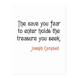 Cita inspirada de Joseph Campbell de la cueva Postal
