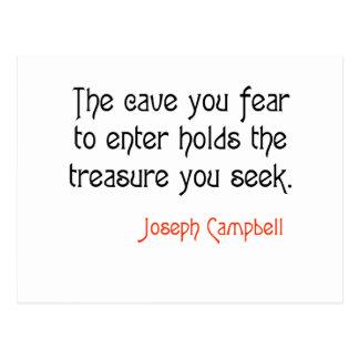 Cita inspirada de Joseph Campbell de la cueva Tarjetas Postales