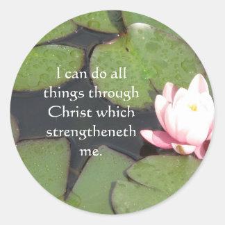 Cita inspirada de la biblia - 4:13 de los pegatina redonda