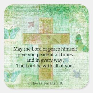 Cita inspirada de la BIBLIA del 3 16 de Thessaloni Colcomanias Cuadradass