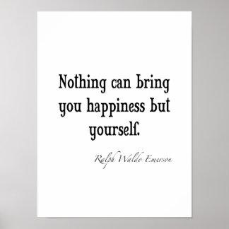 Cita inspirada de la felicidad de Emerson del vint Póster