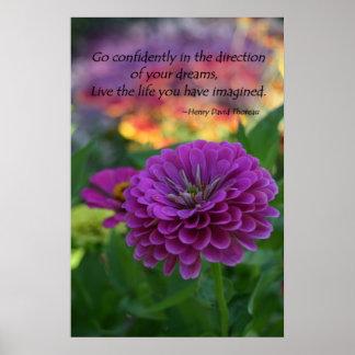 Cita inspirada de la flor púrpura colorida del zin póster