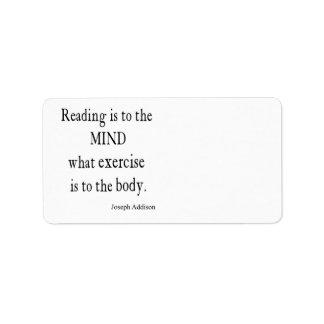 Cita inspirada de la mente de la lectura de Addiso Etiquetas De Dirección