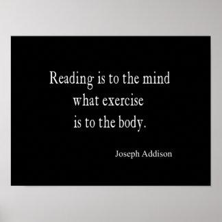 Cita inspirada de la mente de la lectura de póster