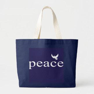 Cita inspirada de la paz de los azules marinos bolsa tela grande