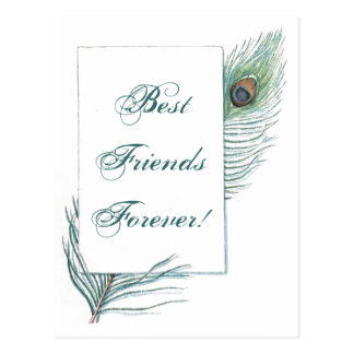 Cita inspirada de la pluma BFF del pavo real del Tarjetas Postales