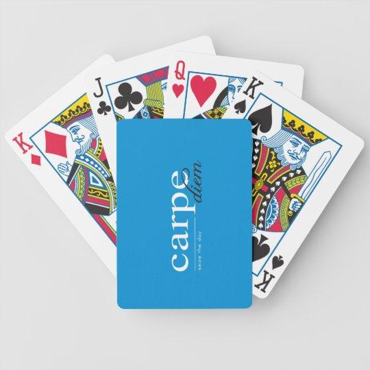 Cita inspirada de motivación azul baraja de cartas bicycle