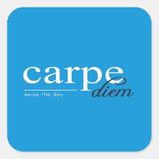 Cita inspirada de motivación azul pegatina cuadradas personalizada