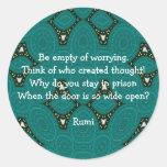 Cita inspirada de Rumi con diseño tribal Pegatina Redonda