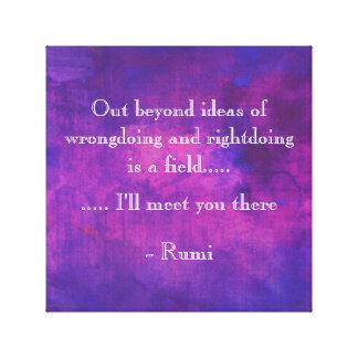 Cita inspirada de Rumi en extracto púrpura Impresión En Lienzo