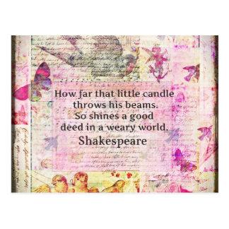 Cita inspirada de Shakespeare sobre buenos hechos Postales