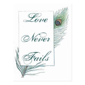 Cita inspirada del amor de la pluma del pavo real  postales