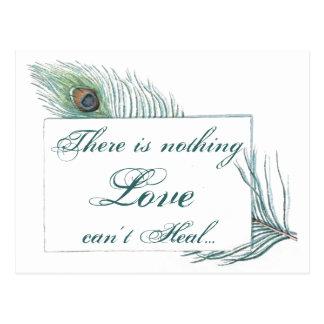 Cita inspirada del amor de la pluma del pavo real tarjetas postales