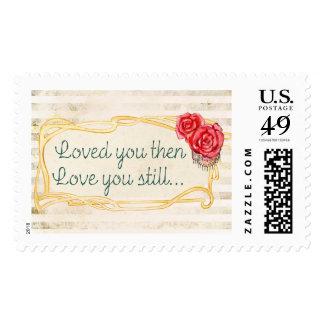 Cita inspirada del amor sello postal