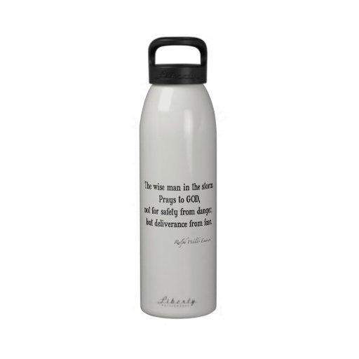 Cita inspirada del valor de Emerson del vintage Botella De Agua Reutilizable