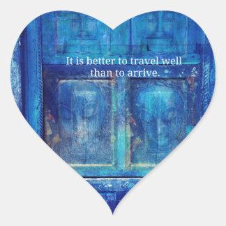 Cita inspirada del viaje de Buda Pegatina En Forma De Corazón
