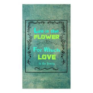 Cita inspirada el amor y vida tarjetas de visita